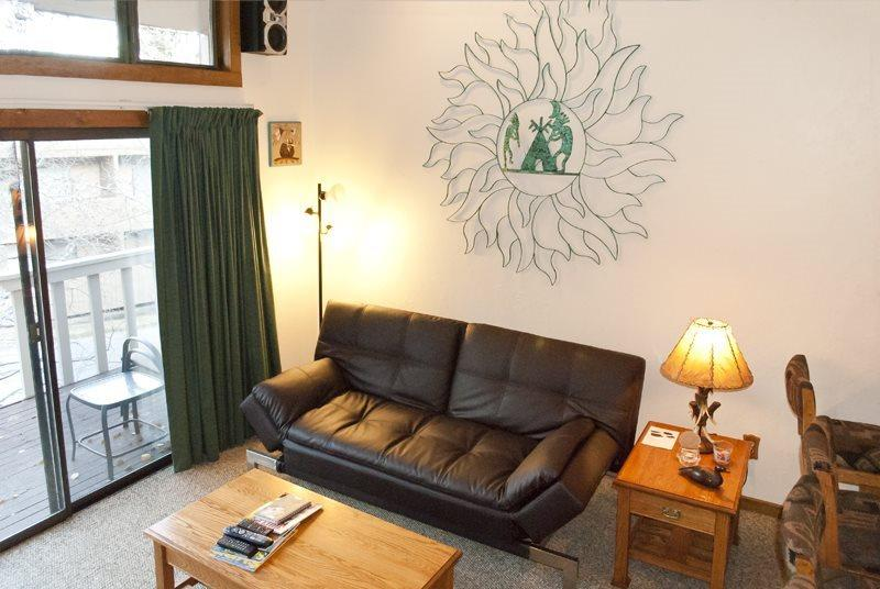 View of living area, from the stairs - Snow Run #8, Warm Springs, economical studio plus loft , walk to lifts - Sun Valley / Ketchum - rentals