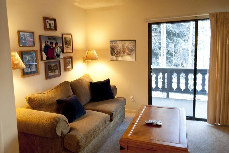 Living room with access to the balcony  - Edelweiss #121B, Warm Springs - economical one bedroom that sleeps 4 across from lifts - Ketchum - rentals