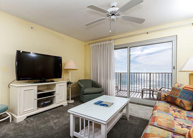 The window to the balcony in this room has white sheer curtains, - SL 303:3rd floor beach front,free beach service, snorkeling, GOLF, movies - Fort Walton Beach - rentals