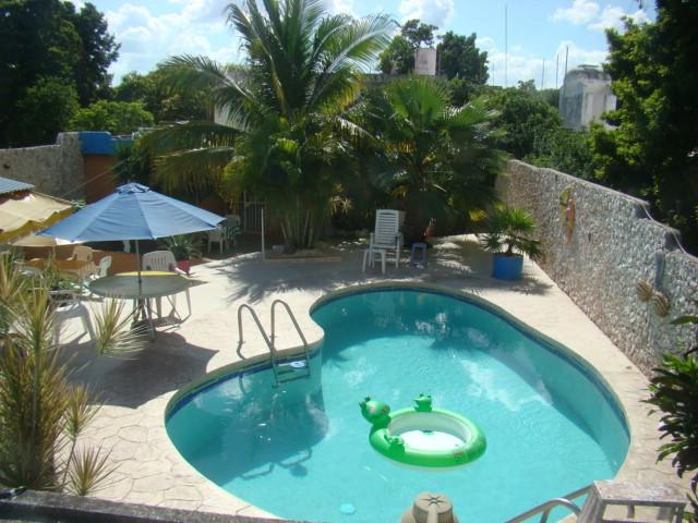 Crystal clear 6 ft deep pool with lots of sun and shade.  Noodles, floaties, and pool fountain - Apt with clothing optional pool & area, Merida, MX - Merida - rentals