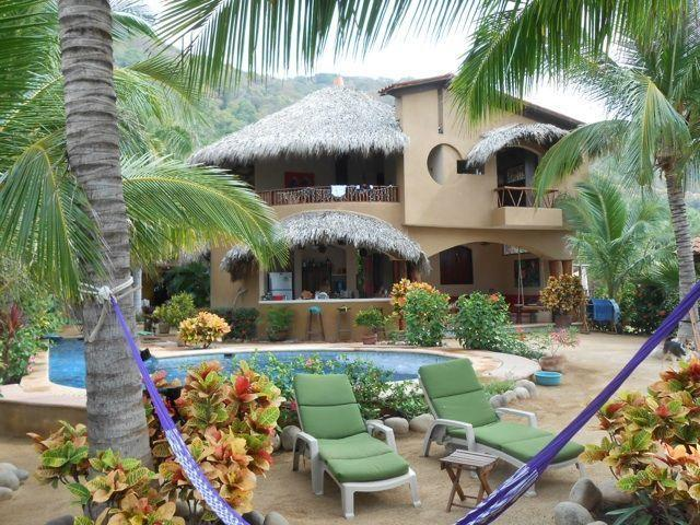 View of house from beach - CASA FIREFLY Beach bungalows, yoga deck & lap pool - Troncones - rentals