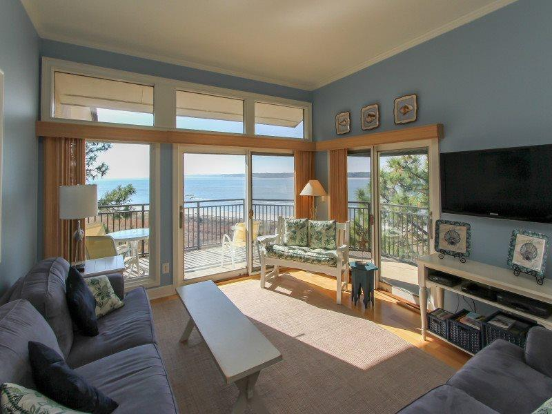 Living Room with Views of the Calibogue Sound at 1883 Beachside Tennis - 1883 Beachside Tennis - Sea Pines - rentals
