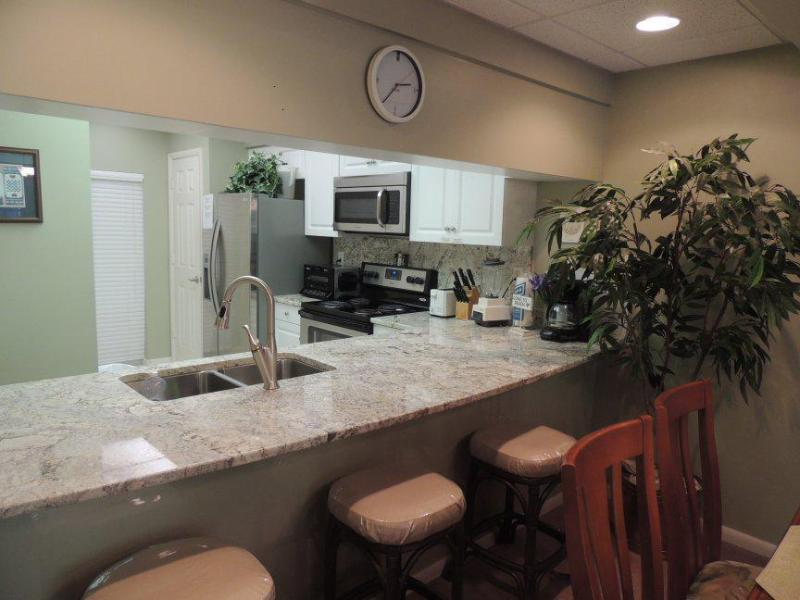 View into kitchen, new appliances, new granite tops, all new. - HIGH POINTE RESORT SEACREST-NEXT TO ROSEMARY BEACH - Panama City Beach - rentals