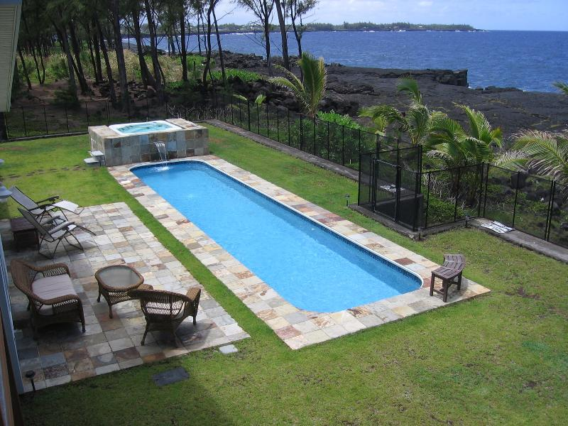 Hale Mar's private 38' lap pool and hot tub by the sea, all for you! - Hale Mar: Luxury, Absolute Oceanfront Home w/private Pool and Hot Tub! - Keaau - rentals