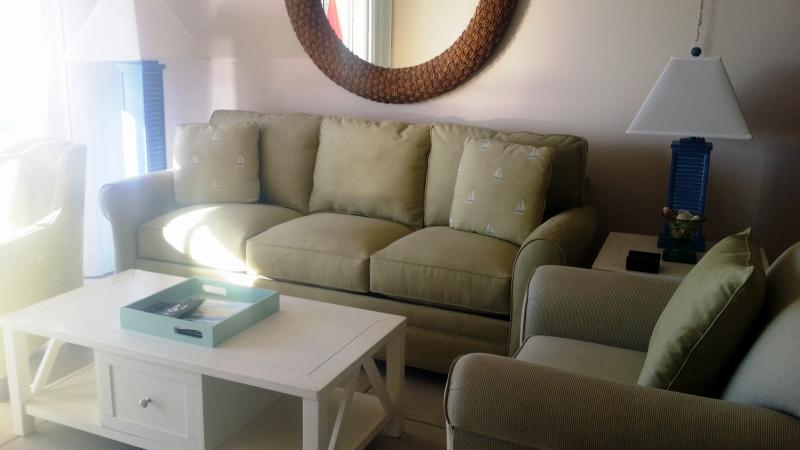 Living Room - Overlooks the Screened Balcony and Beach - Sleeper Sofa - Gulf Front Fort Myers Beach Condo! - Fort Myers Beach - rentals