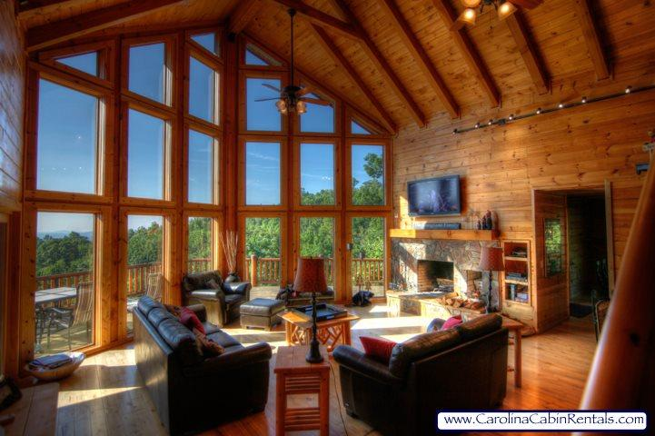 Great Room With Cathedral Ceilings and Wall of Windows - Hidden Ridge - Boone - rentals