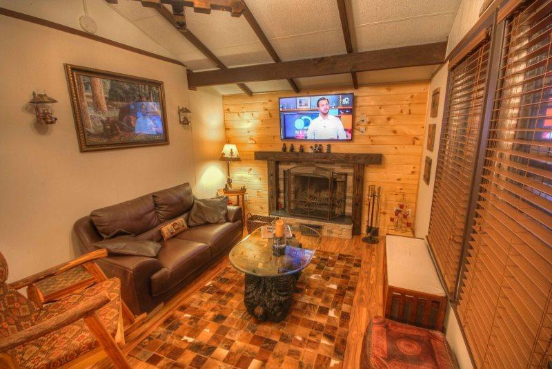 Cozy living with Flatscreen TV and Gas Fireplace - Black Bear Chalet - Beech Mountain - rentals
