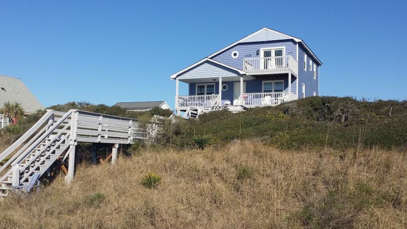 View of house from ocean side - OCEANFRONT! Oak Island, NC, 5BR, Sleeps 12 - Oak Island - rentals