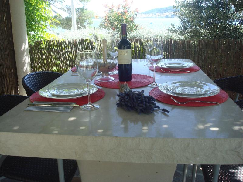 Outside dining with view to medieval town of Korcula - 2bedroom apartment,waterfront,peaceful,windsurf. - Kuciste - rentals