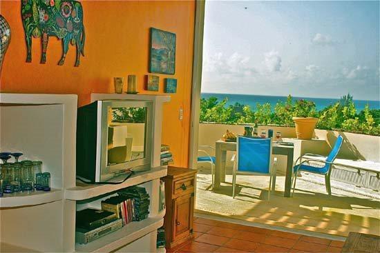 Ocean view from Living Room if foliage not overgrown - Super House in Playa del Carmen (Bosques de los Aluxes 304 - B304) - Playa del Carmen - rentals