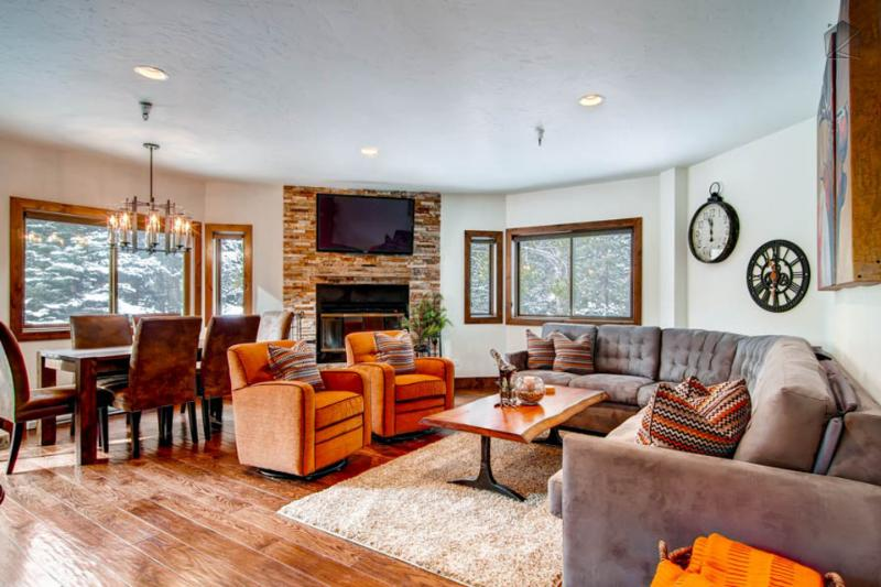 Enjoy conversations in this open plan living area over a wood burning fireplace. - Condo downtown in the village is walkable to everything and has community pool and hot tub - Maggie Pond Condo - Breckenridge - rentals