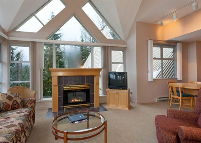 Cozy Living Area with Gas Fireplace, Flat Screen TV (not picture - Woodrun Lodge 517 | Ski-in/Ski-out, Common Hot Tub and Pool - Whistler - rentals