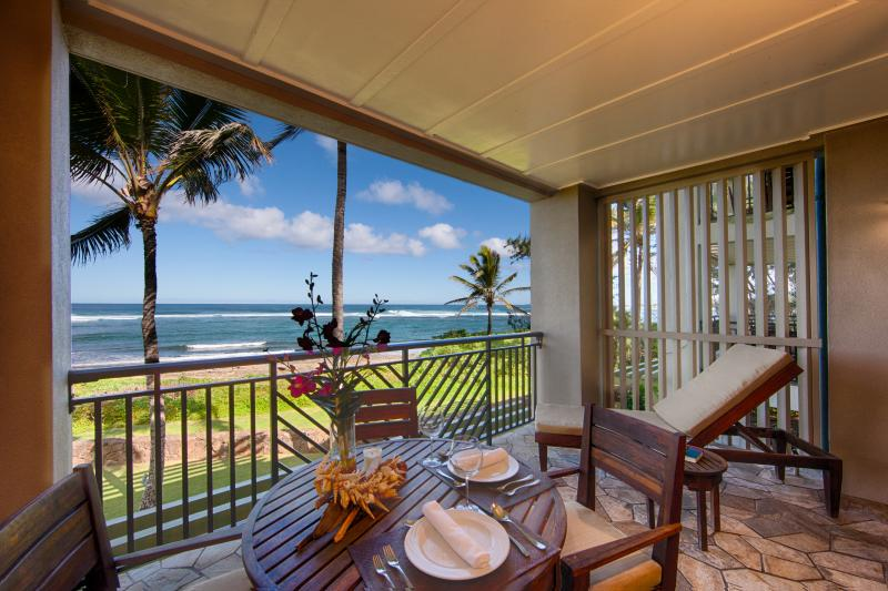 Lanai and view from one of our second floor villas! - Direct Ocean View Studio Villas at Turtlebay - Kahuku - rentals