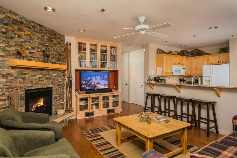 "Living Room with 50"" Samsung TV, sound bar, gas log fireplace - The Terraces N13: Views, Pool, Hot Tub, Shuttle - Steamboat Springs - rentals"