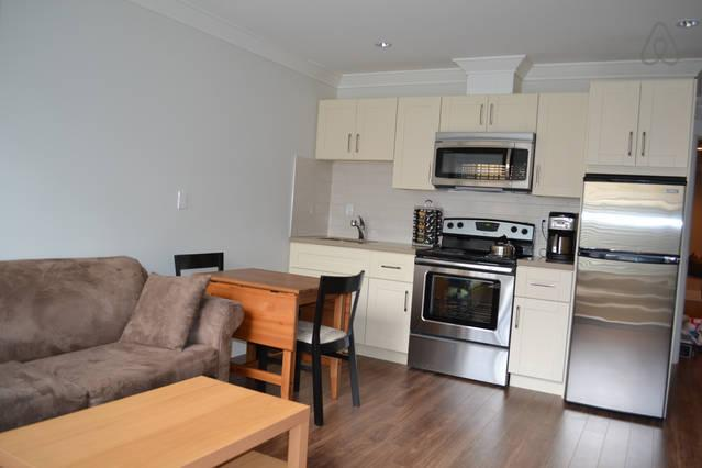 kitchen with brand new stainless steel appliances and ceasar stone counters - Oakridge Canada Line-BRAND NEW Q E  garden suite - Vancouver - rentals