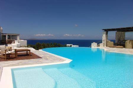Anemone set hillside overlooking the sea with peaceful infinity pool & terrace - Image 1 - Mykonos - rentals