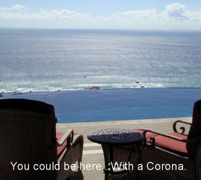 Villa deck view, overlooking infinity pool to ocean. You could be here. With a Corona. And should be - Casa Vista Hermosa,4.5 Bedrooms,Ocean View Villa, - Cabo San Lucas - rentals