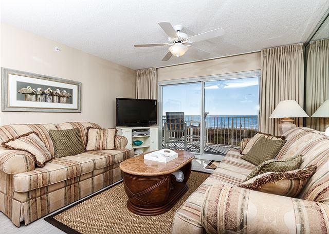 Beach front living room with plenty of seating and brand new flo - SL 103: UPDATED beachfront condo-beach front,free beach service, snorkeling - Fort Walton Beach - rentals