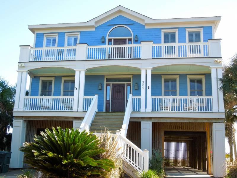 Street Side of Home - 5 O'clock Somewhere - Folly Beach, SC - 5 Beds BATHS: 4 Full 1 Half - Folly Beach - rentals