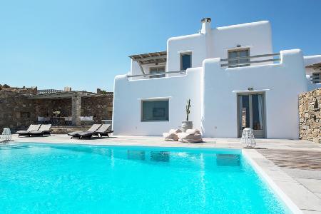 Modern Poseidon One with 3 stone façade villas, superb bay views & infinity pool - Image 1 - Kalafatis - rentals
