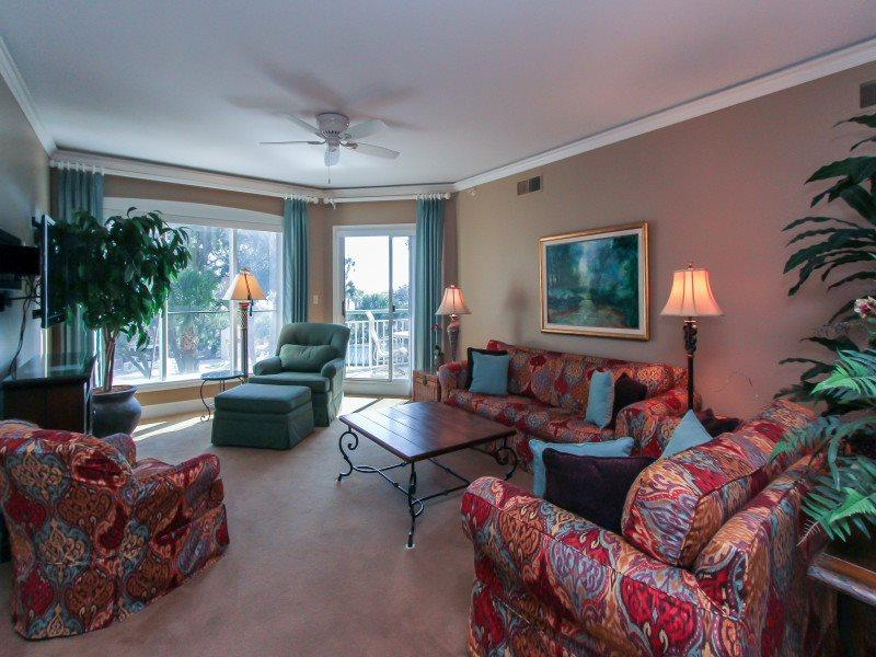 Living Room with Balcony Access at 206 Windsor Place - 206 Windsor Place - Palmetto Dunes - rentals