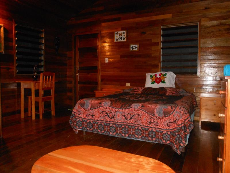 Interior of Toucan Cabana with high vaulted hardwood ceiling and floors, queen bed. - Exotic Eco Friendly Riverfront Jungle Getaway - San Ignacio - rentals
