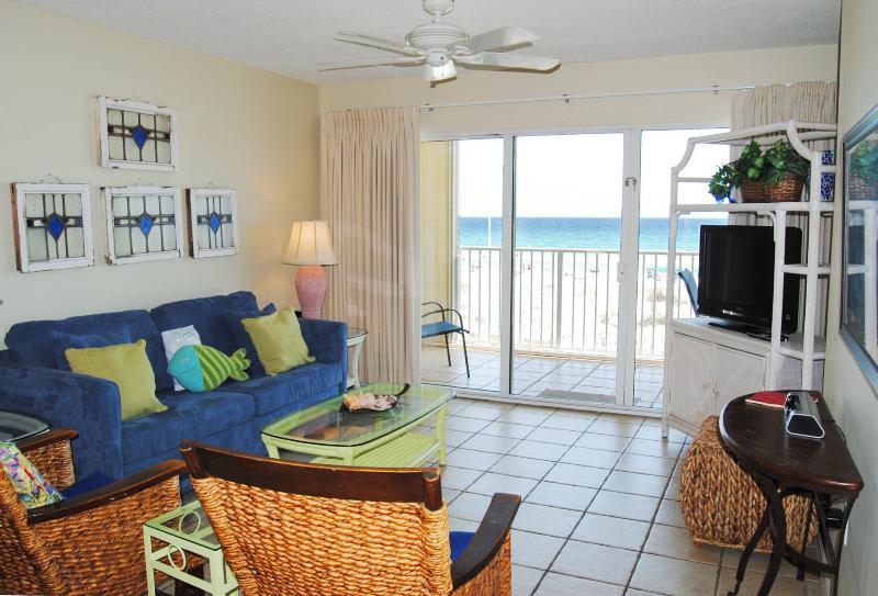 Living Room. Awesome views of the Gulf! - Gulf Dunes 202, Ocean Views, Sleeps 10, WIFI - Fort Walton Beach - rentals