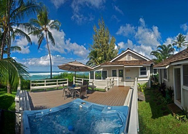 June Special $395! 4 bedroom,oceanfront with hot tub and sunset views - Image 1 - Haleiwa - rentals