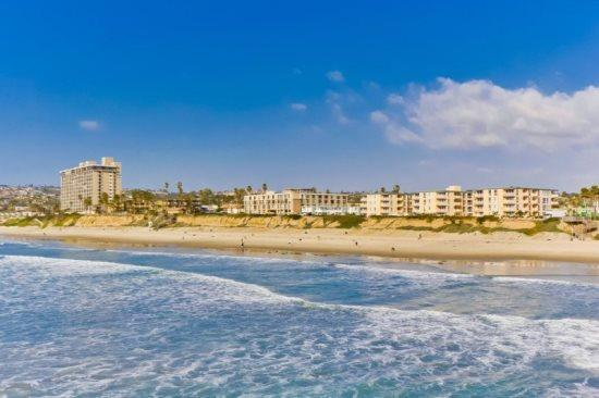 Crystal Pier view of ocean towards Ocean Point. - Mitchell's Poolside Paradise at Ocean Point - Pacific Beach - rentals