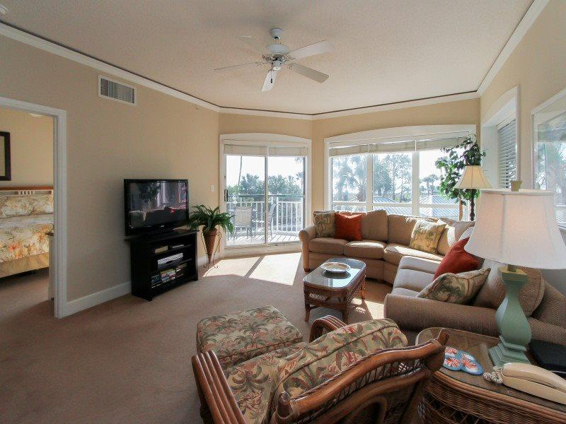 Living Room with Flat Screen at 4110 Windsor Court North - 4110 Windsor Court North-New Master Bathroom in 2015 - Palmetto Dunes - rentals