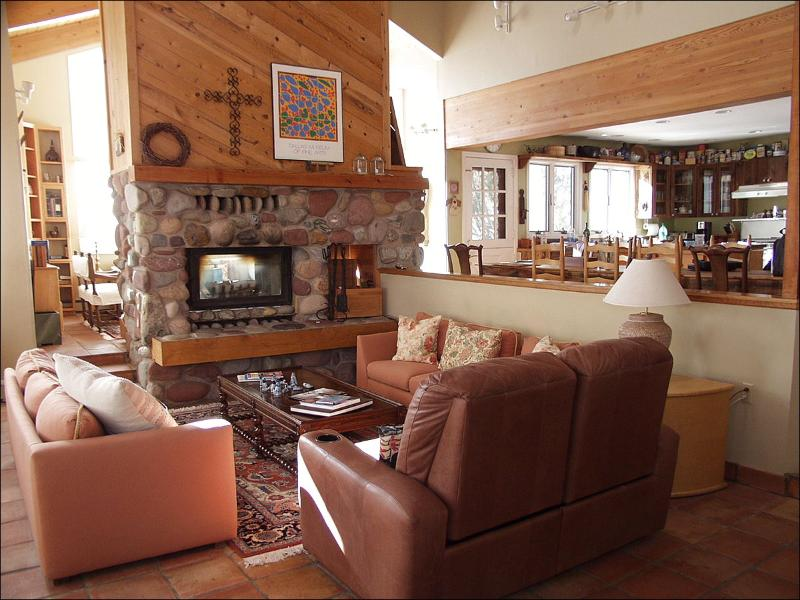 Large Living Room with Stone Fireplace - Rustic Family Home - Large Wood Burning Fireplace (2151) - Snowmass Village - rentals