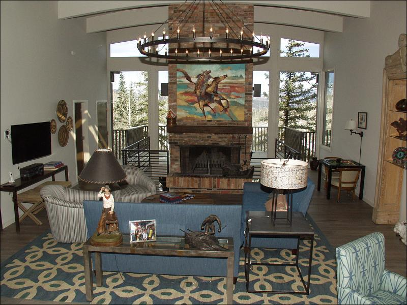 Large living room with brick fireplace and views! - Newly Remodeled Home (2014) - Large Decks with Views (7593) - Snowmass Village - rentals