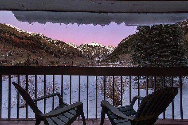View to East from Deck  - Riverside B102 - 2 Bd / 2 Ba - Comfortable Condo - Sleeps 5 - Amazing View of East Box Canyon - Watch or Listen to Festivals From Covered Patio - Steps to Ski Area - Telluride - rentals