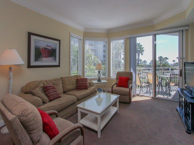 Living Room with Ocean Views at 1104 Sea Crest - 1104 Sea Crest - Hilton Head - rentals
