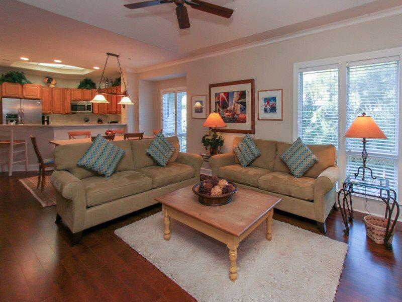 Living Room with Screen Porch Access at 8122 Wendover Dunes - 8122 Wendover Dunes - Forest Beach - rentals