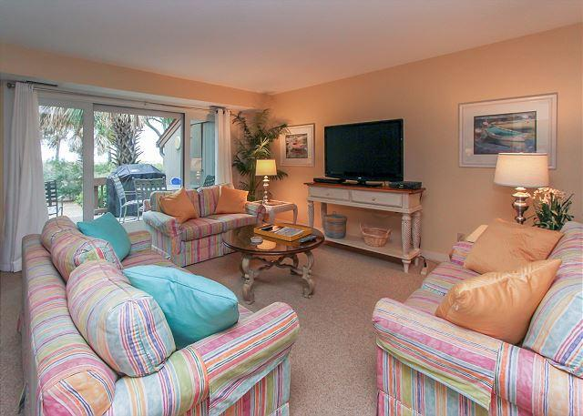 Main Living Area - 1412 South Beach Villa-Oceanfront & Beautiful-August Dates available - Hilton Head - rentals