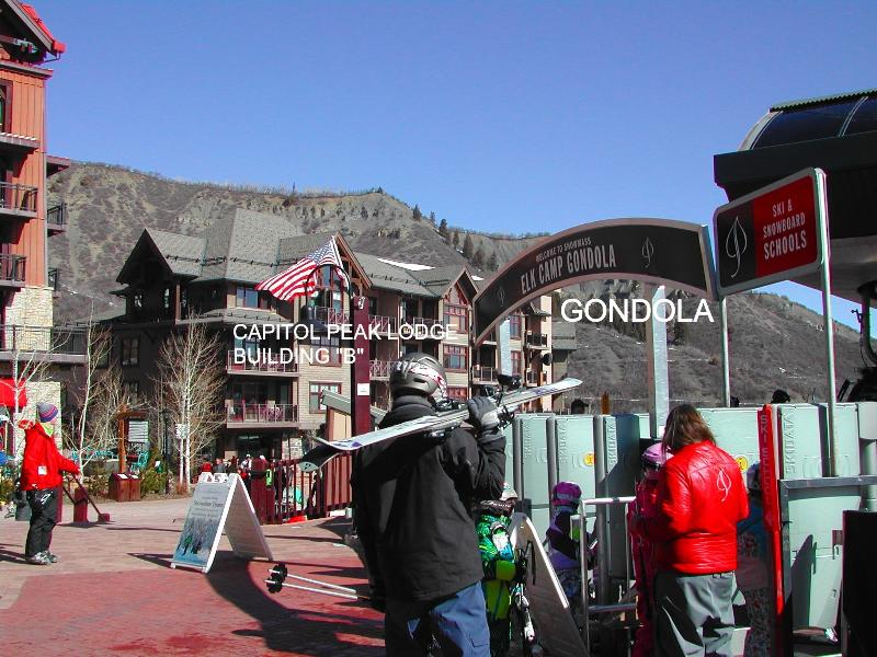 Photo from Gondola with our Capitol Peak Building in background - SKI IN SKI OUT NEW CAPITOL PEAK 1 BED LUXURY CONDO - Snowmass Village - rentals