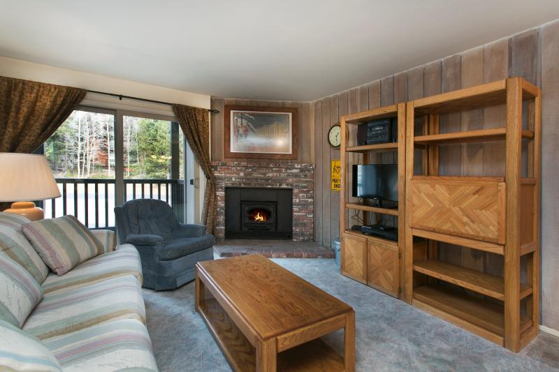 Chamonix #55 Living Area With A Wood Burning Fireplace and A Queen Sofa Bed - Chamonix 55 - Mammoth Condo - Walk to Lift - Mammoth Lakes - rentals