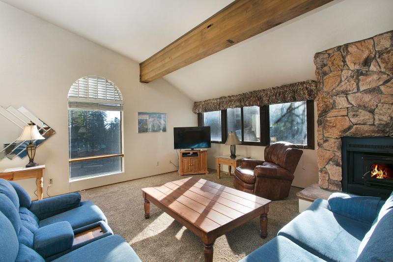 Helios North #5 Living Area With A Wood Burning Fireplace - Helios North 5 - Mammoth Condo - Walk to Village - Mammoth Lakes - rentals