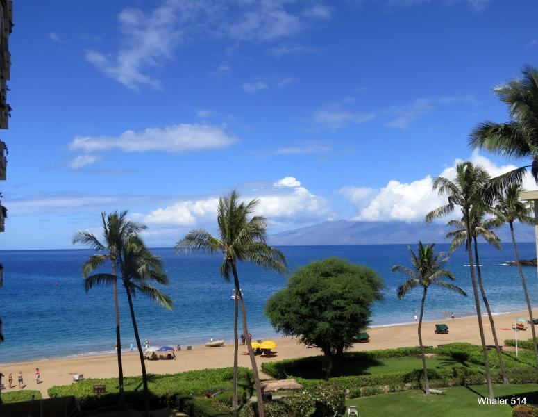 Your ocean view from your private lanai of Kaanapali and island of Molokai - PREMIUM Ocean View Studio - On Kaanapali Beach! - Ka'anapali - rentals
