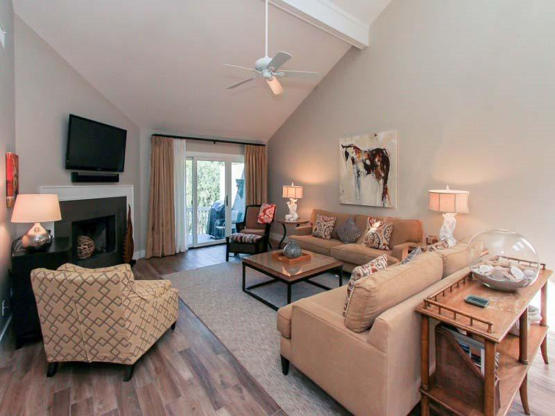 Living Room with Flat Screen at 8 Turtle Lane Club - 8 Turtle Lane Club - Sea Pines - rentals