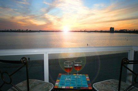 Nancys Riviera Villas Condo - Enjoy a glass of vino while watching a bay sunset - Nancy's Riviera Villas Condo on Mission/Sail Bay - Pacific Beach - rentals
