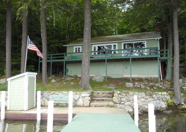 View of front of house from dock - Enjoy the Loons on Lake Winnipesaukee on Observatory Road (XU14W) - Meredith - rentals