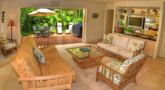 living room - Free Car* with Kipuka Hale private home, both bedrooms have ensuite bathrooms and a/c. Remodeled! - Poipu - rentals