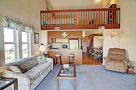 Living Room - Surf Condos 531 - Long Island Escape, 918 N New River Dr, Surf City, NC, Ocean View - Surf City - rentals