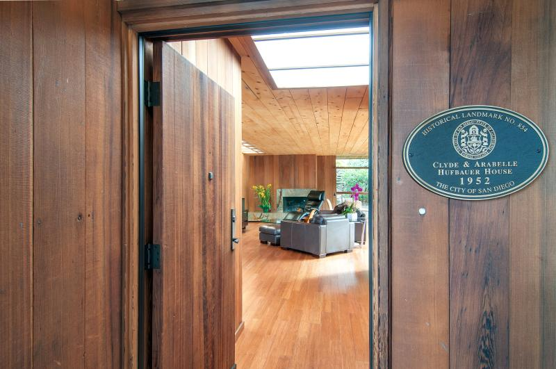 Close-up of front entrance to this historically designated residence - Ocean Views Mid-Century Modern Redwood & Glass - La Jolla - rentals