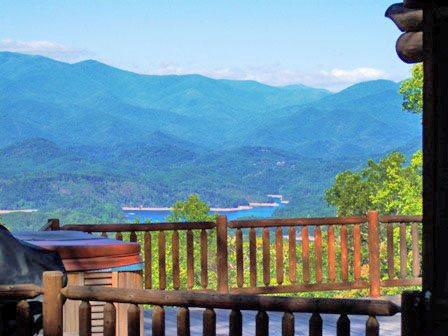 Big Timber Lodge, Minutes from the Great Smoky Mountain Railroad - Big Timber Lodge - Unforgettable View of the Mountains and Fontana Lake from this Upscale Cabin with Outdoor Fireplace, Hot Tub, and Wi-Fi - Bryson City - rentals
