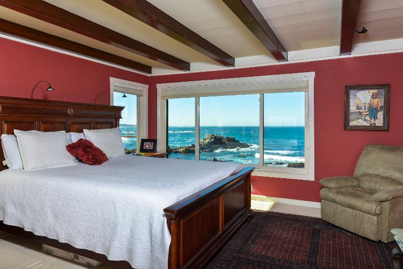 Master Bedroom Has Views, Sonos Sound System, Deck, Luxury  Bath.      Photo:  Ron Bird - Magnificent Rocky Shores - 6 Bedrooms on the Beach - Pacific Grove - rentals