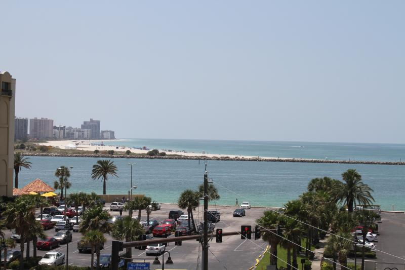 View of Sand Key Beach and the sunset over the city of Clearwater Beach from Master bedroom balcony - Dockside Condos 301   BAY and BEACH views!!! - Clearwater - rentals