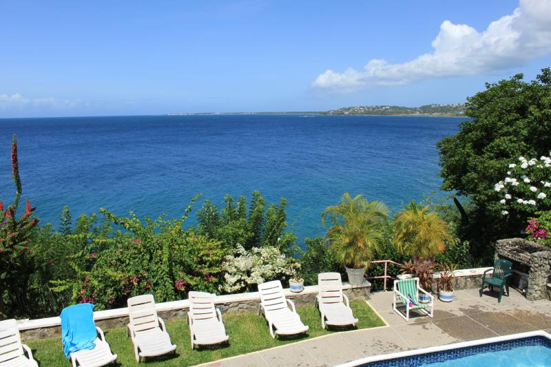 Looking west towards the bay - Stunning seafront villa with panoramic ocean views - Bacolet Bay - rentals